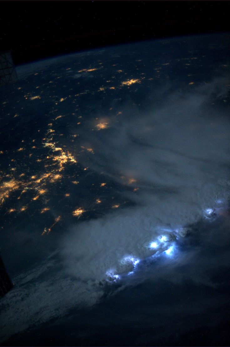 An impressive line of storms moving through Asia on July 24, 2013. The lightning was amazing - the most I've seen in a single accumulation of storms.  KN from space.