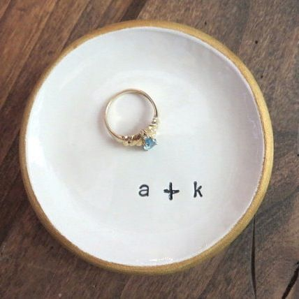 Image of Ring dish, Gold edge, Engagement Gift, Gift Boxed, Made to Order