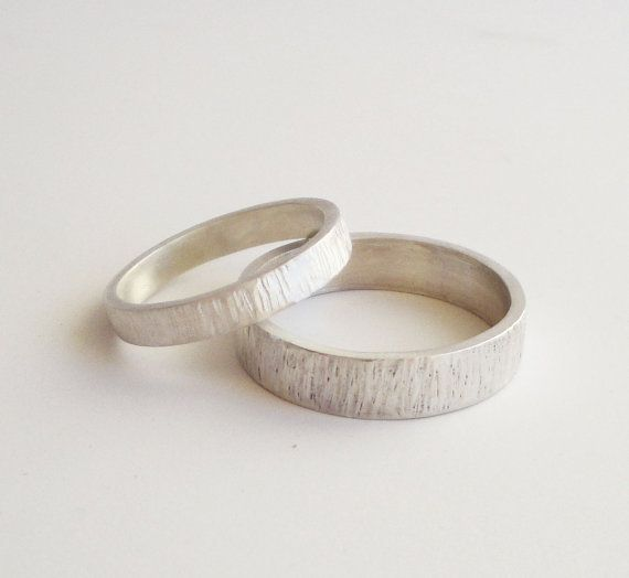 simple wedding rings set handmade hammered sterling silver wedding band set 5mm 3mm satin finish wedding ring bark rings custom made - Silver Wedding Ring