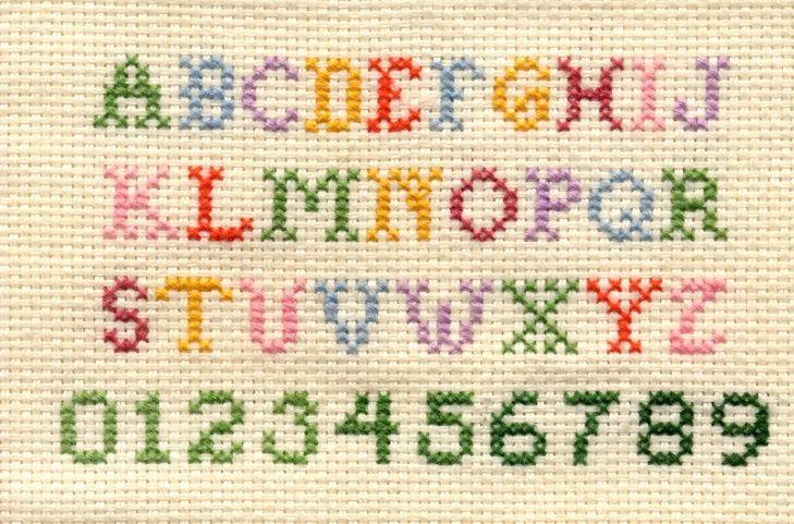 Diseño de letras punto con cruz