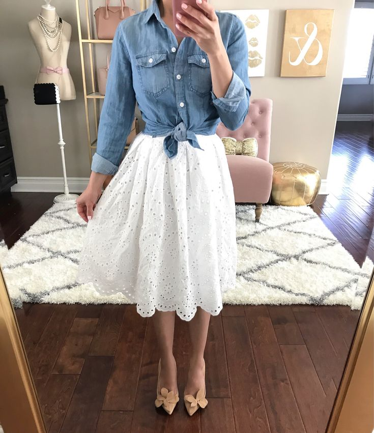 eyelet scalloped hem skirt chambray shirt flower pumps spring outfit idea