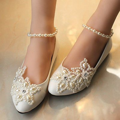 Resplendent-Sparkling-Pearl-Wedding-Formal-Party-Evening-Party-Dress-Flat-shoes