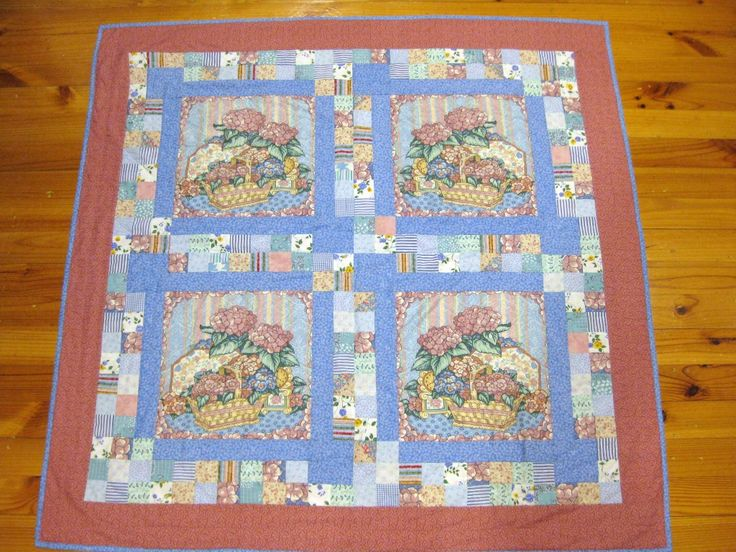 What to do with 4 ugly cushion panels from the 80s - make them into a lap quilt!
