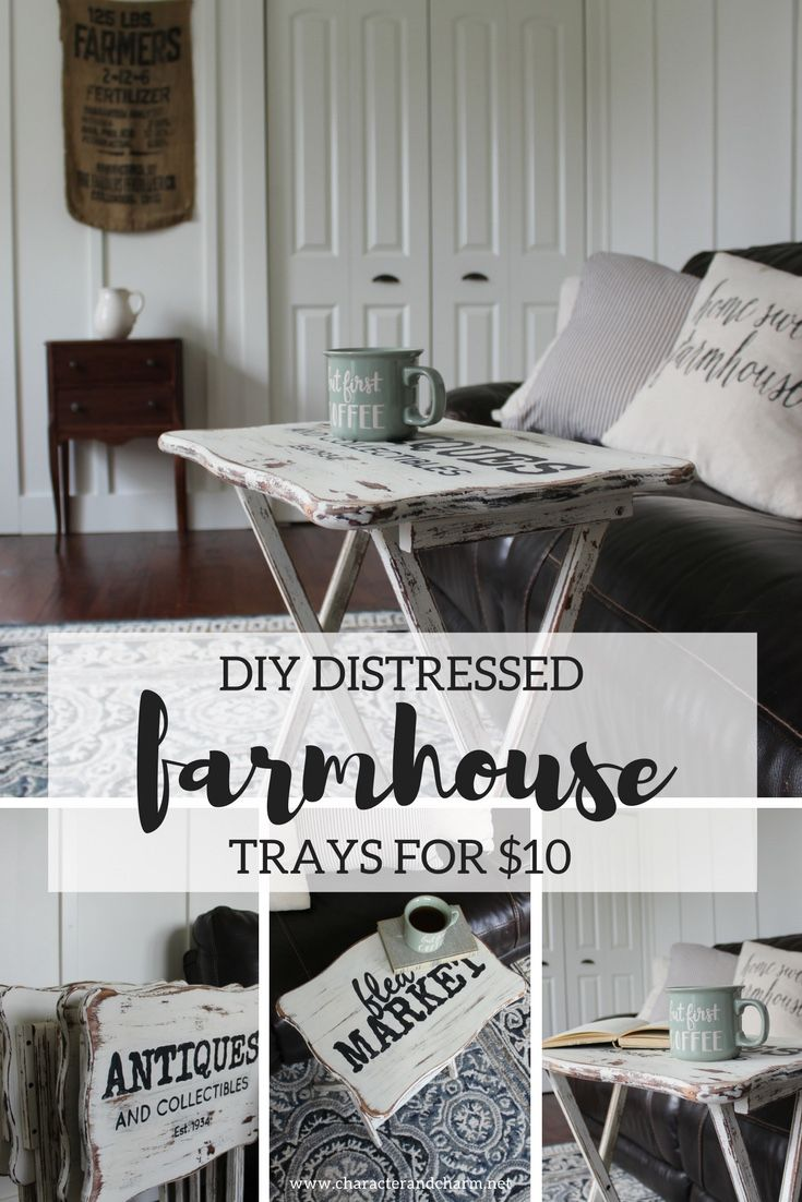 I gave these thrift-store folding trays a chippy, farmhouse-style makeover for less than $10! I'm loving the look of the handpainted lettering. See the step-by-step tutorial on the blog! | Character & Charm Blog {www.characterandcharm.net}
