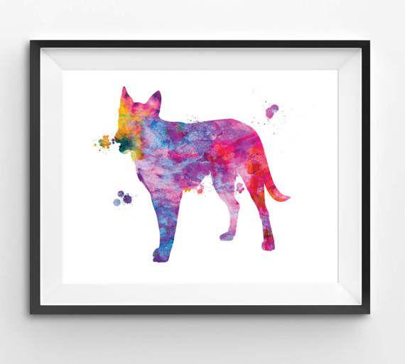 Colorful German Shepherd Watercolor Print Dog Print Dog