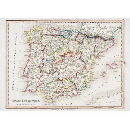 Map Of Spain And Portugal From Smiths General Atlas Published London 1850 By C Smith Mapseller Number 172 The Strand Canvas Art - Ken Welsh Design Pics (17 x 12)