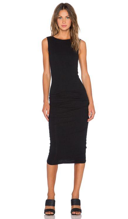 James Perse Open Back Skinny Dress in Black | REVOLVE
