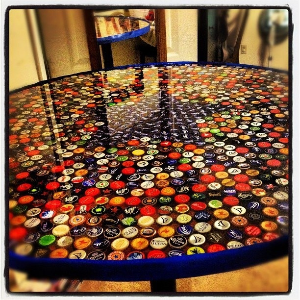 887 best images about bottle cap crafts on pinterest pop for How to make a table out of bottle caps