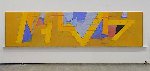 Irma Salo Jæger <em>Utsyn</em><br />olje og eggtempera på lerret, 116x458 cm
