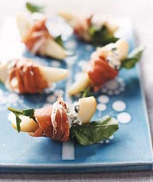 Pears With Blue Cheese and Prosciutto. With a glass of white wine, great idea for Christmas Eve..yummy!