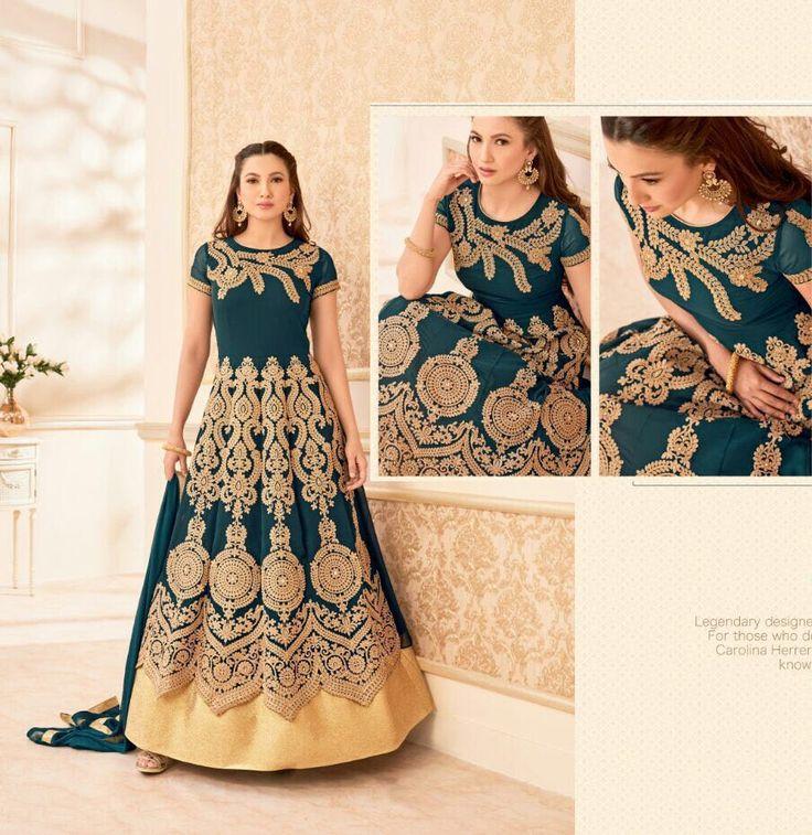 Latest Trend Green floor length Indian anarkali churidar dress for weddings