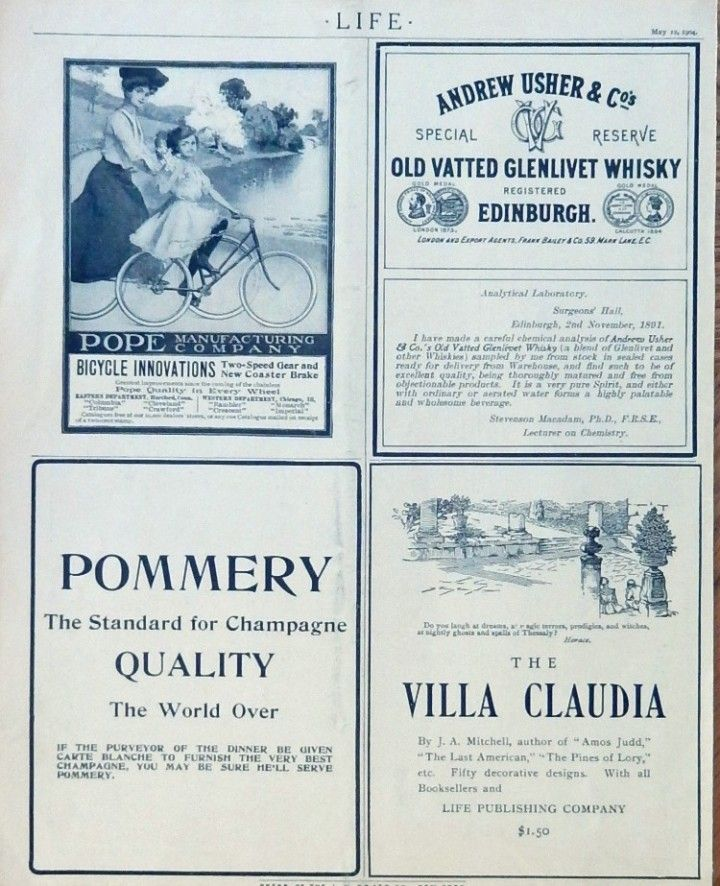 Pope Bicycles  Pommery Champagne  Old Vatted glenlivet Whisky  Print ads  1904 B W Illustrations