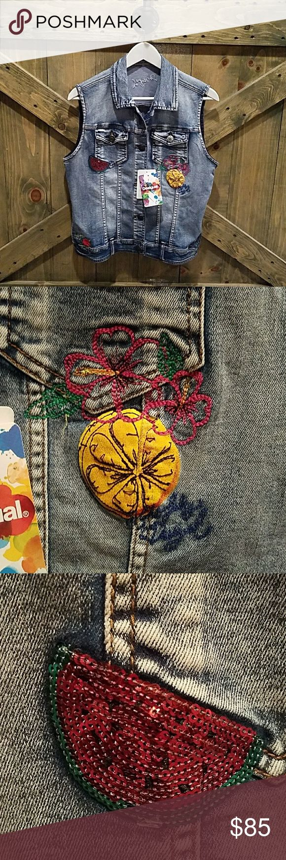 NWT DESIGUAL JEAN VEST Rock this Designer Vest with too cute embellishments. All buttons present, excellent condition.  Size 42/USA SIZE 8. STYLE NUMBER 55E29K5/5053, no rips or stains. Desigual Jackets & Coats Vests