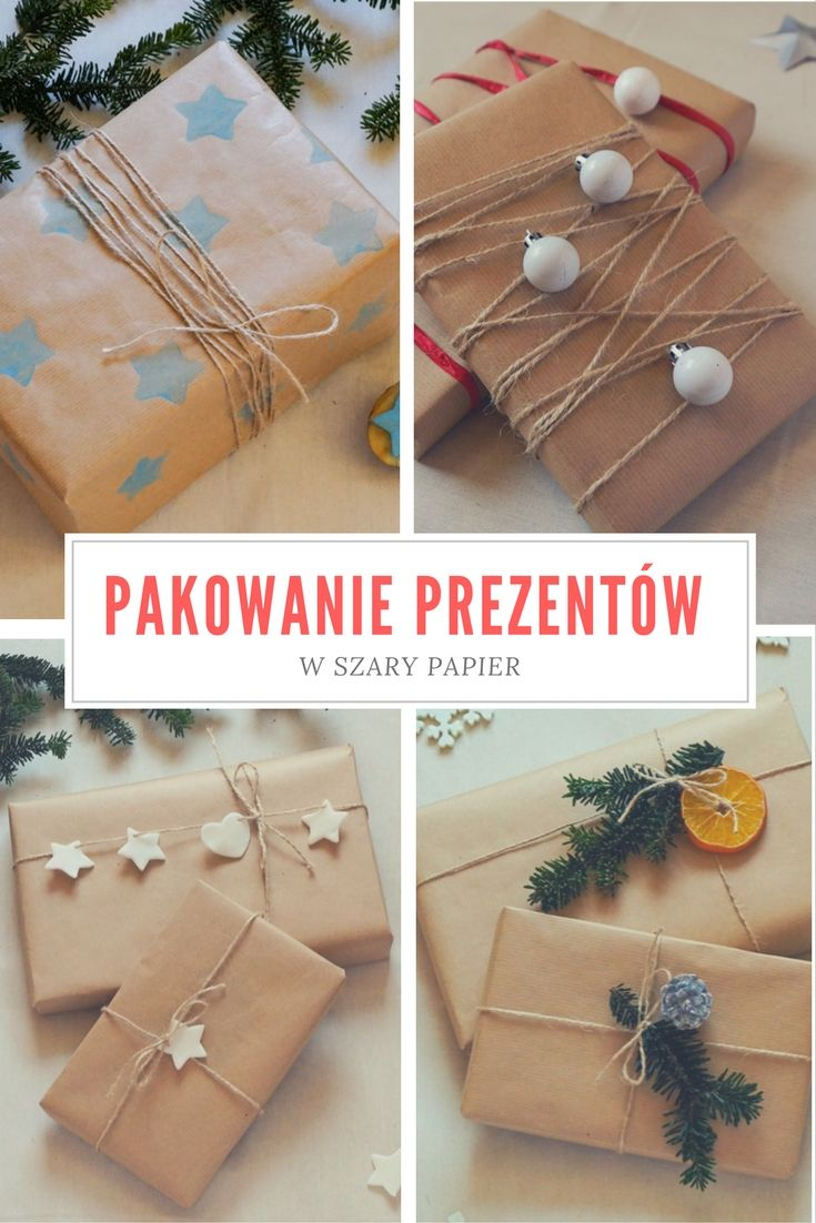 Pakowanie prezentów w szary papier - pomysły i inspiracje, bileciki i etykiety do prezentów // Gift wrapping, gift tags  Origami Frog - kreatywny blog diy, zrób to sam