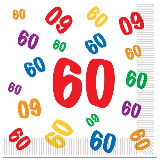 60 jaar servetten 16 stuks. Leeftijd servetten voor de 60-jarige. Formaat: ongeveer 33 x 33 cm. Leuk voor een verjaardag!