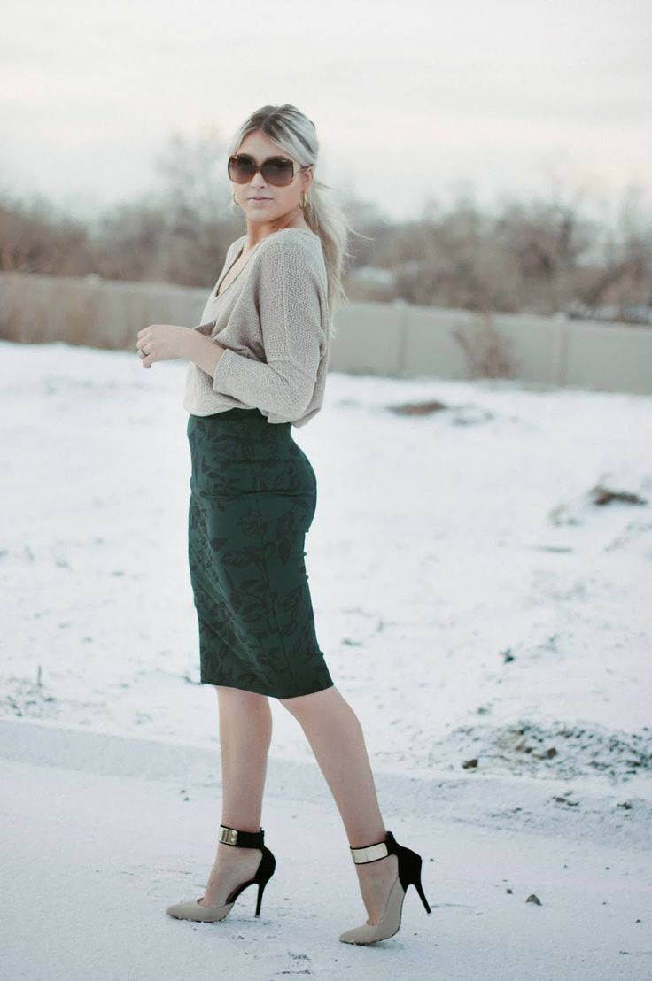 """""""Hunter Green,"""" outfit modeled by Cara Loren on her fashion blog. Floral body-con pencil skirt with knit dolmen sweater. Love the metal accent on those heels!"""