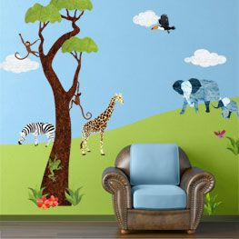 17 best images about granja on pinterest jungle theme for Baby jungle mural