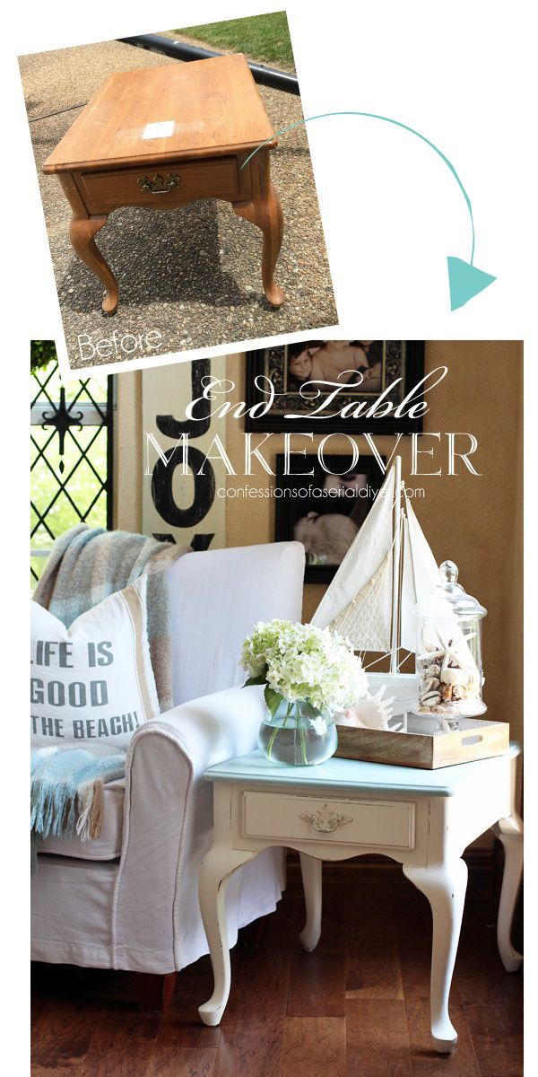 Grey Morning And Cottage White End Table From Confessions Of A Serial  Do It  · Furniture MakeoverRefinished ...