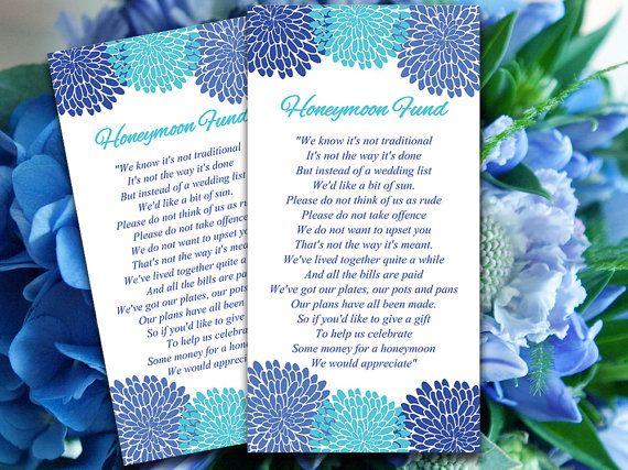 Wedding Honeymoon Fund Card   Horizon Malibu Blue Cornflower Wedding Bloom Bouquet Downloadable Wedding Invitation Insert   Wishing Well  by PaintTheDayDesigns, $10.00