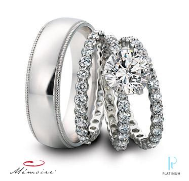 Memoire Pee G Platinum And Diamond Eternity Engagement Ring With Matching Wedding Bands