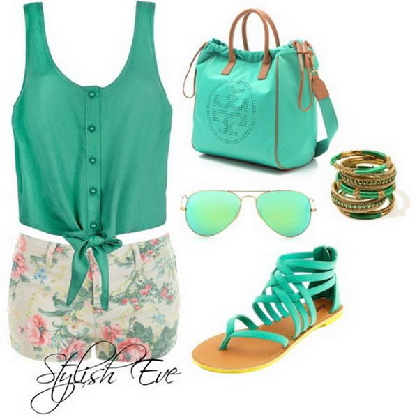 summer outfit- mint green tank top-mint green purse- mint green sandles-floral shorts-sun glasses
