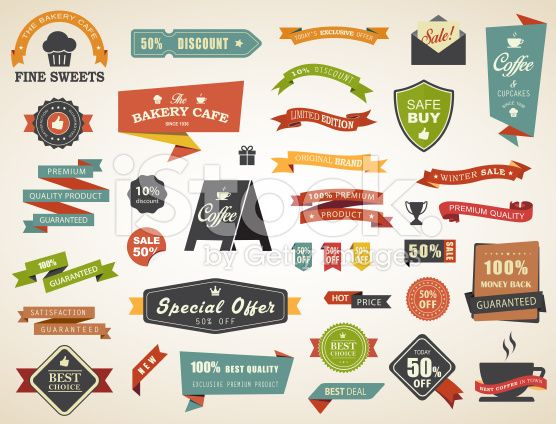 Label Banner Tag Sticker Badge Vintage Vector Set royalty-free stock vector art