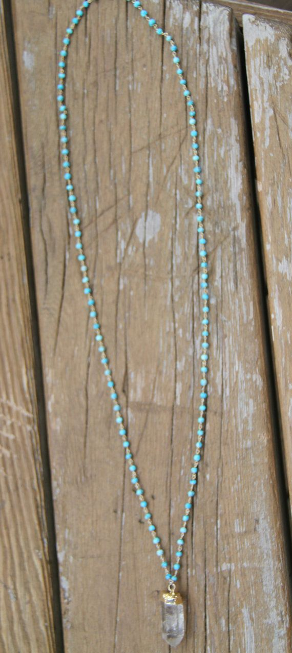 Crystal Quartz Rosary Necklace Turquoise by WanderandLustJewelry, $69.00  #contest #giveaway #wanderlust #pinterest #etsy #jewelry #wanderandlustjewelry