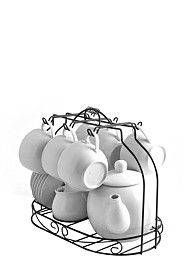 16 PIECE TEA SET ON STAND - oh mmmm GGG! love this so awesome.. in the center of the dinning room table