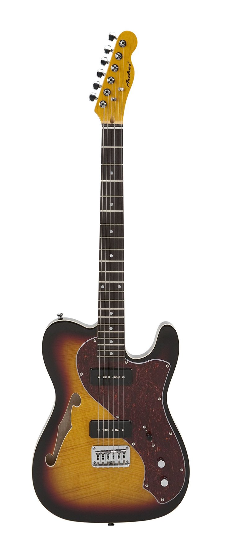 """Archer TT10SB Designed Series Thinline Electric Guitar. • Grover Locking Tuners. • Rosewood Fret board. • Dot inlays. • Bolt-on Neck. • 25.5"""" Scale."""