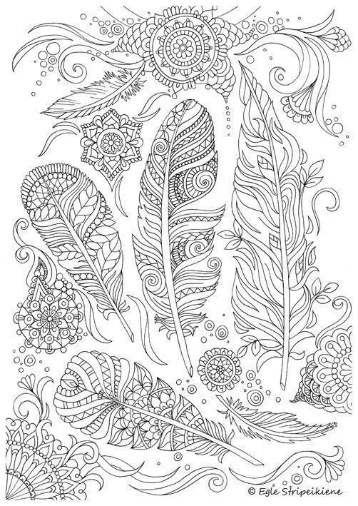 Coloring Page for Adults Feathers by Egle Stripeikiene. Size -A3 Publisher: http://www.almalittera.lt