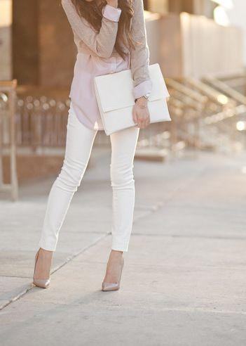White and tan: White Skinny, Fashion, Style, Whitejeans, Outfit, White Pants, White Skinnies, White Jeans