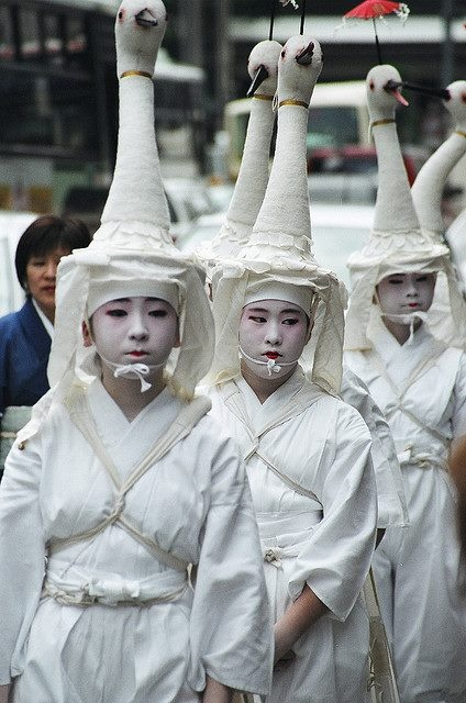 Swan dressed children for the traditional dance at Gion Matsuri