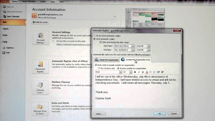 Setting Microsoft Outlook 2010 Email Automatic Replies