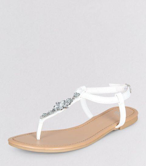 Ados - Sandales blanches avec strass sur l'entredoigt