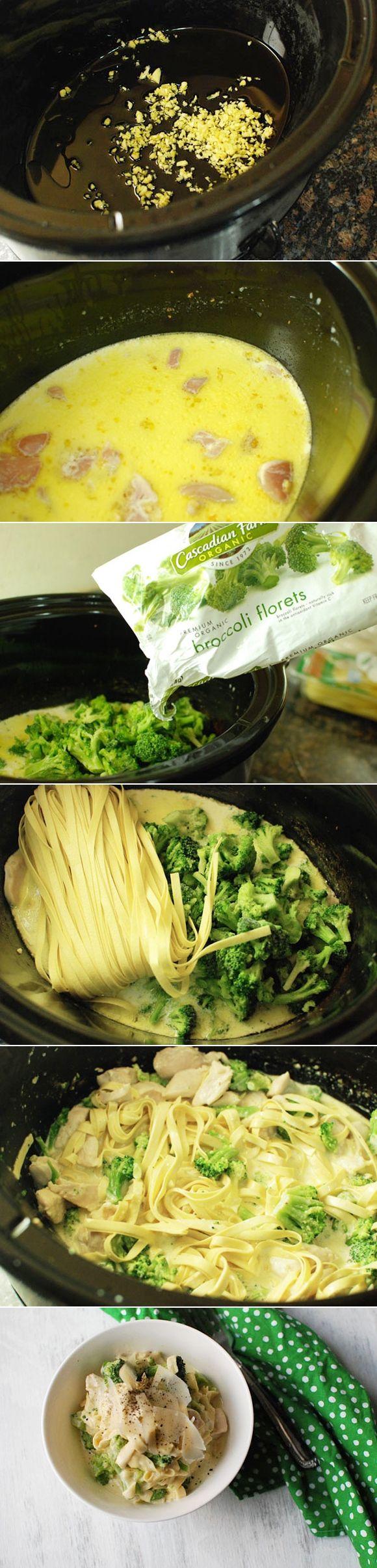 Slow Cooker Chicken Fettuccine Alfredo: Crock Pots, Slow Cooking, Slow ...