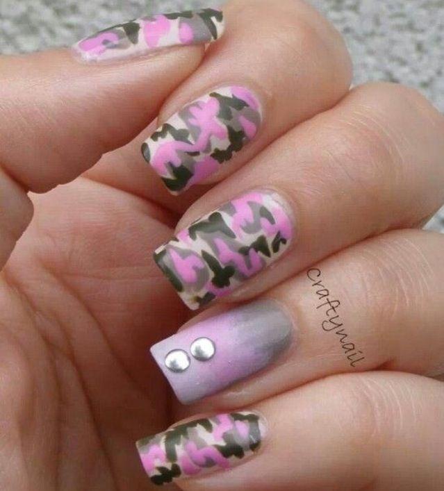 #Nail #art #nailart #camuflage #pink