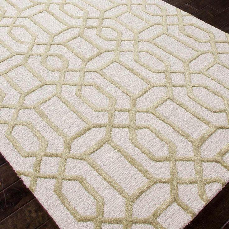 High Quality Plush Wool Plush Wool U0026 Art Silk Modern Lattice Rug: Grey Or Sage Green A