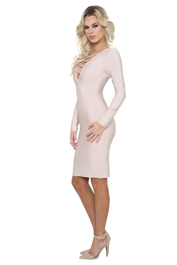 Olivia Nude Long Sleeve Criss Cross Bandage Dress
