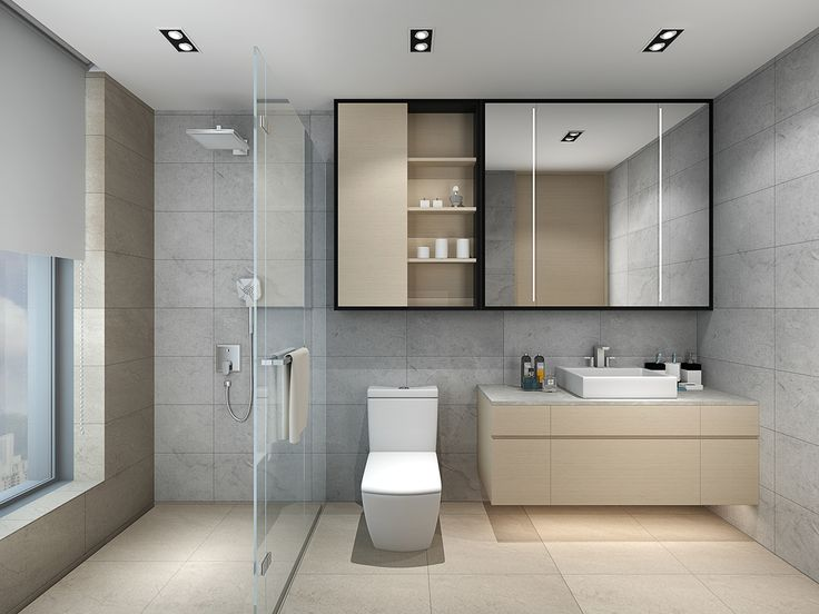 This look keeps it simple with both grey and taupe tile surrounding the bathroom. A rainfall showerhead keeps with the straight lines of the entire design.