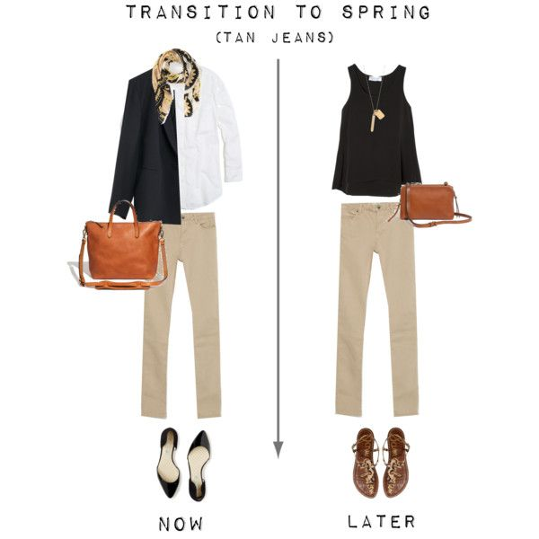 Transition to Spring - Tan Jeans by bluehydrangea on Polyvore featuring Madewell, Zara, Boden, Sam Edelman and T+C by Theodora & Callum