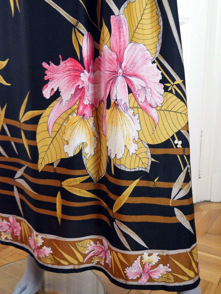 European Vintage Maxi Dress, Black Pink Yellow Bamboo Orchid Floral Print Long Dress, Boho Formal Party Dress: Size 8 US, Size 12 UK by YouLookAmazing on Etsy