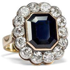 Um 1900: Antiker Saphir & Diamant RING aus Gold Verlobungsring Diamanten