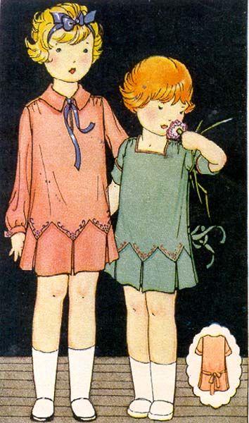 1926 Description: CHILD'S SLIP-ON DRESS W/ EMBROIDERY TRANSFER Size: 4 BREAST 23
