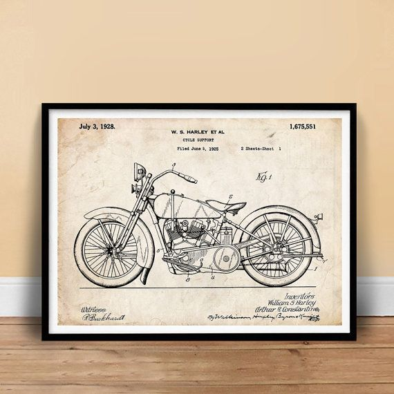 Harley-Davidson Motorcycle 1928 US Patent Print 18X24 Poster HD Vintage Gift  - This will look great in your mancave!