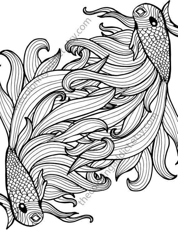 Beta Fish Coloring Sheet Animal Coloring Pdf Zentangle Colouring Page Zentangle Animal Pdf Intr Garn Malerei Malvorlagen Tiere Zentangle