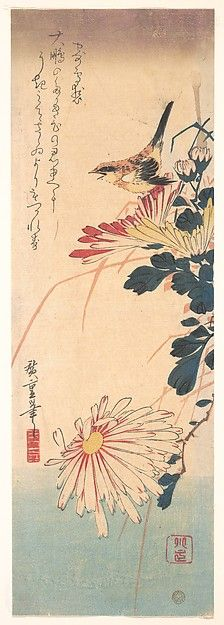 Utagawa Hiroshige | Shrike and Chrysanthemums   | Japan | Edo period (1615–1868) | The Met