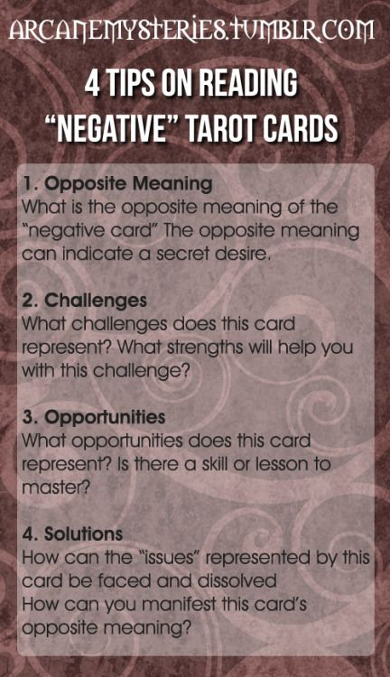 """Four Tips On Reading """"Negative"""" Tarot Cards."""