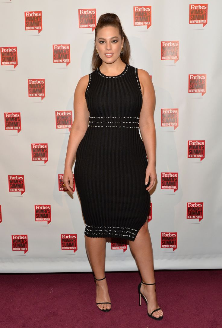 Fab: Ashley Graham  The model stunned in a flirty knit knee-length dress with chic silver stripes. (Photo by Slaven Vlasic/Getty Images)  via @AOL_Lifestyle Read more: http://www.aol.com/article/2016/05/14/fab-or-flop-paris-hiltons-sheer-dress-kristen-stewarts-sneak/21377242/?a_dgi=aolshare_pinterest#fullscreen