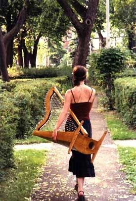 Paraguayan-inspired small harp by Alain Beaudoin, from Harp on the Hill - harpist, harp, harp teacher, piano teacher, special event music, wedding music, Montreal, Stacey Loewen, medieval music, folk music, classical ensembles