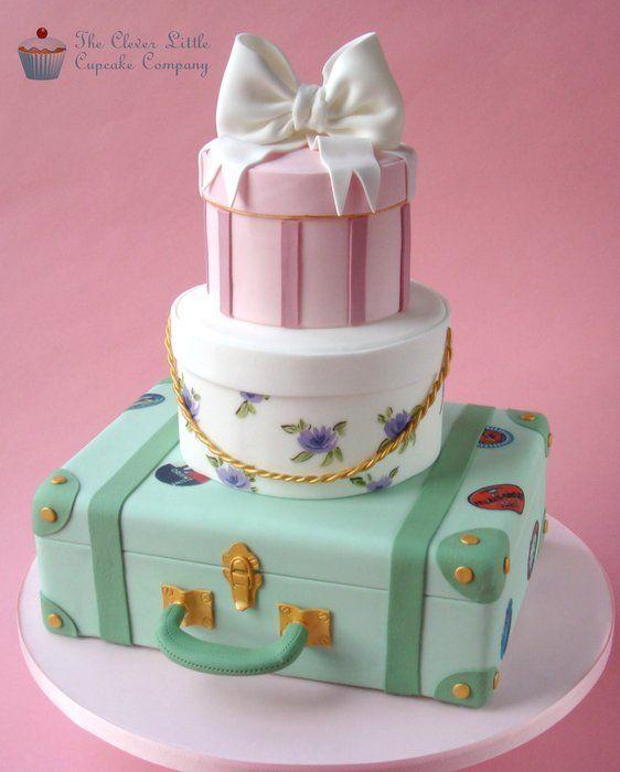 Vintage Luggage Wedding Cake - by CleverLittleCupcake @ CakesDecor.com - cake decorating website